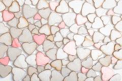 Fond fait de coeurs en bois Image libre de droits