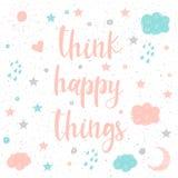 Fond fait main de carte de griffonnage Pensez la citation heureuse de choses illustration stock