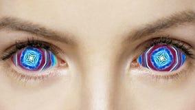 Fond fait une boucle par visage coloré psychédélique d'abrégé sur yeux illustration libre de droits