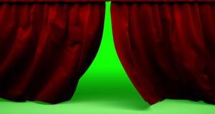 Fond fermant de mouvement en animation de théâtre parfaitement rouge de haute qualité de rideau Écran vert inclus illustration stock