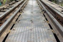 Fond ferroviaire, foyer mou Photos stock