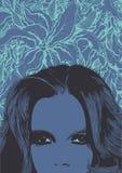 Fond floral abstrait avec le visage de femme illustration libre de droits