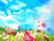 Fond floral abstrait de couleur d'eau de paysage illustration libre de droits