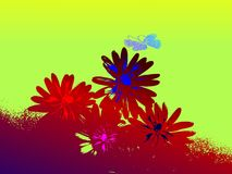 Fond floral abstrait grunge avec le guindineau illustration stock