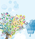 Fond floral avec des éléments d'aquarelle Photographie stock libre de droits