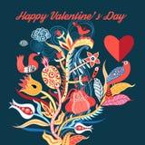Fond floral avec des oiseaux dans l'amour Image libre de droits