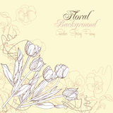 Fond floral avec des pensées et des tulipes Photos libres de droits