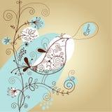 Fond floral avec l'oiseau illustration de vecteur