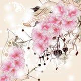 Fond floral avec le branchement de fleur de cerise illustration libre de droits