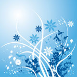 Fond floral bleu Images libres de droits
