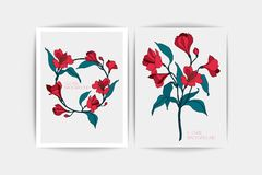 Fond floral Carte d'invitation de mariage La composition de vecteur du rose fleurit l'illustration Faire gagner la datte Photo stock