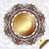Fond floral clair avec le modèle de cercle d'or Photos stock