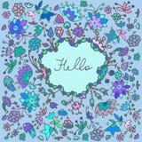 Fond floral coloré de cadre de griffonnage mignon de vecteur Photo stock