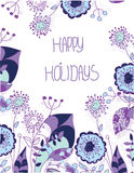 Fond floral décoratif avec les fleurs violettes Photo libre de droits