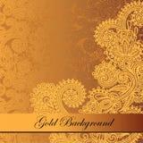 Fond floral d'or Images libres de droits