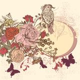 Fond floral dans le rétro style avec des fleurs Images stock