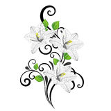 Fond floral de beau main-dessin avec le lis de feuilles et de fleurs de vert photographie stock