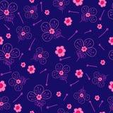 Fond floral de bleu de modèle d'imagination Photographie stock