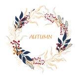 Fond floral de cercle Illustration ronde d'automne avec des feuilles, des herbes et des baies illustration de vecteur