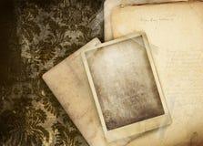 Fond floral de cru avec la photo Photographie stock libre de droits