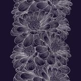 Fond floral de main-dessin sans couture argenté avec la camomille de fleur Images stock