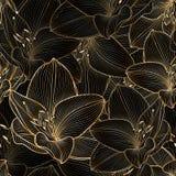 Fond floral de main-dessin sans couture d'or avec l'amaryllis de fleur Image stock