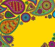 Fond floral de Paisley avec l'ormament indien et endroit pour votre texte illustration de vecteur