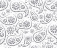 Fond floral de Paisley d'ornement de vecteur blanc sans couture de noir illustration stock