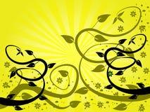 Fond floral de ventilateur jaune Photos libres de droits