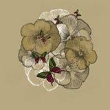 Fond floral de vintage avec des pensées Illustration de vecteur illustration libre de droits