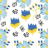 Fond floral exotique Modèle sans couture abstrait de Memphis de vecteur Papier peint de nature de fleur d'usine, mignon illustration stock
