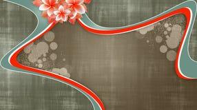 Fond floral grunge avec des remous rouges photos stock