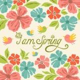 Fond floral, lettrage de ressort, carte de voeux Photos libres de droits