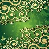 Fond floral magique avec les curles d'or. Photo stock