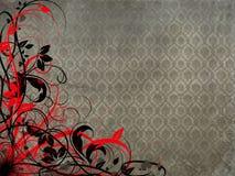 Fond floral noir rouge Photographie stock libre de droits