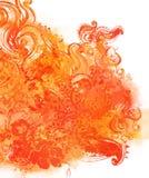 Fond floral orange d'aquarelle Photos stock