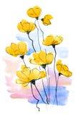 Fond floral peint par abstrait Photos libres de droits