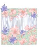 Fond floral rayé de carte de mariage Photos stock