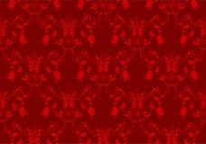 Fond floral rouge de damassé Image libre de droits