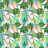 Fond floral sans couture d'aquarelle avec le flowe tropical d'orchidée Photographie stock