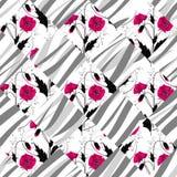 Fond floral sans couture d'ornement de modèle de pavot de patchwork illustration stock