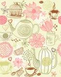 Fond floral sans joint avec des cuvettes et des théières Image stock