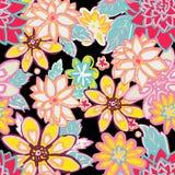 Fond floral sans joint fleurs et feuilles sur le noir Photos libres de droits