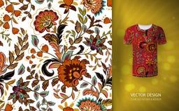 Fond floral sans joint Modèle de fleurs d'imagination, épuisé sur la moquerie de T-shirt Conception pour des copies, papier peint illustration de vecteur