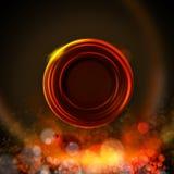 Fond foncé avec le label de cercle, couleurs du feu illustration stock