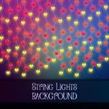 Fond foncé avec les lumières décoratives de ficelle Guirlandes brillantes lumineuses d'ampoules illustration de vecteur