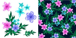 Fond foncé de modèle sans couture avec des fleurs, des papillons et des feuilles illustration libre de droits