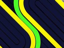 Fond foncé de techno avec les rayures jaunes et vertes illustration de vecteur