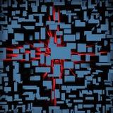 Fond foncé des blocs cubiques avec la lumière rouge illustration de vecteur