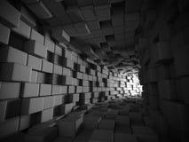 Fond foncé futuriste abstrait de tunnel de blocs de cubes Image libre de droits